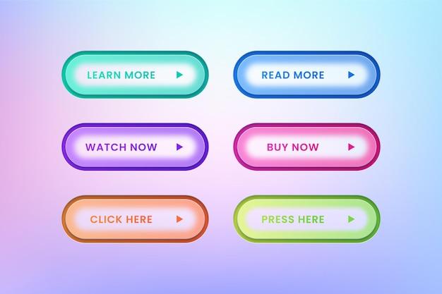 ウェブサイトのモダンなボタンのセット