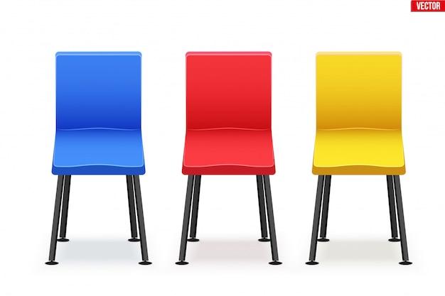 현대 의자 세트. 다양한 색상과 미니멀리즘 스타일의 의자.