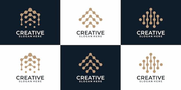 현대 원형 라인 문자 로고 디자인 벡터 로고 디자인의 세트