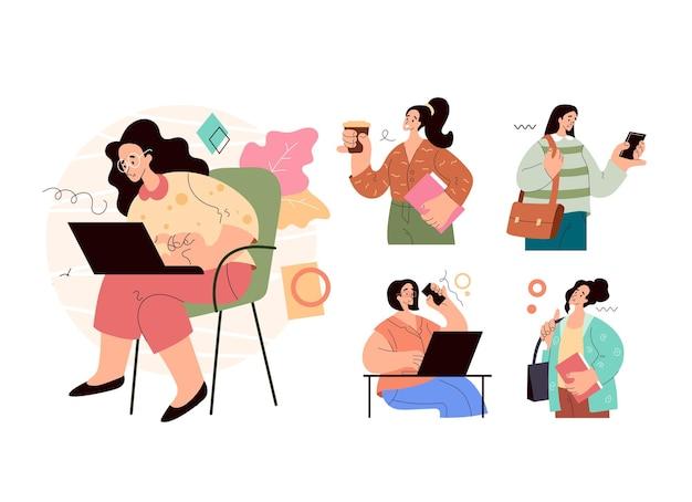 현대 도시 비즈니스 여자 여자 학생의 세트