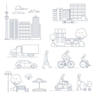 라인 아트 스타일에 현대 도시 요소의 집합입니다. 도시 교통, 주택, 사람, 고층 빌딩 등 벡터 일러스트 레이 션