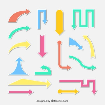 현대 색 화살표 스티커 세트
