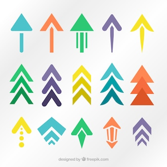 フラットデザインのモダンな色の矢印のセット