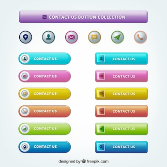 Set of modern colored contact buttons