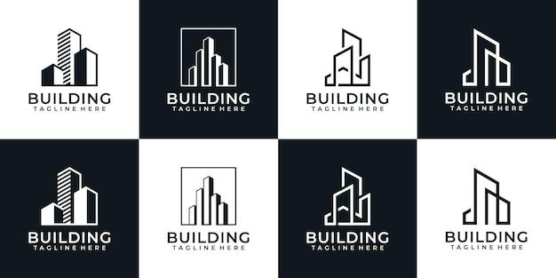 プロパティのアパートのモダンな創造的な建築建物のロゴのセット