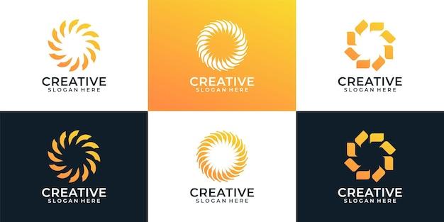 モダンでクリエイティブなスパイラルロゴデザインコンセプトのセット