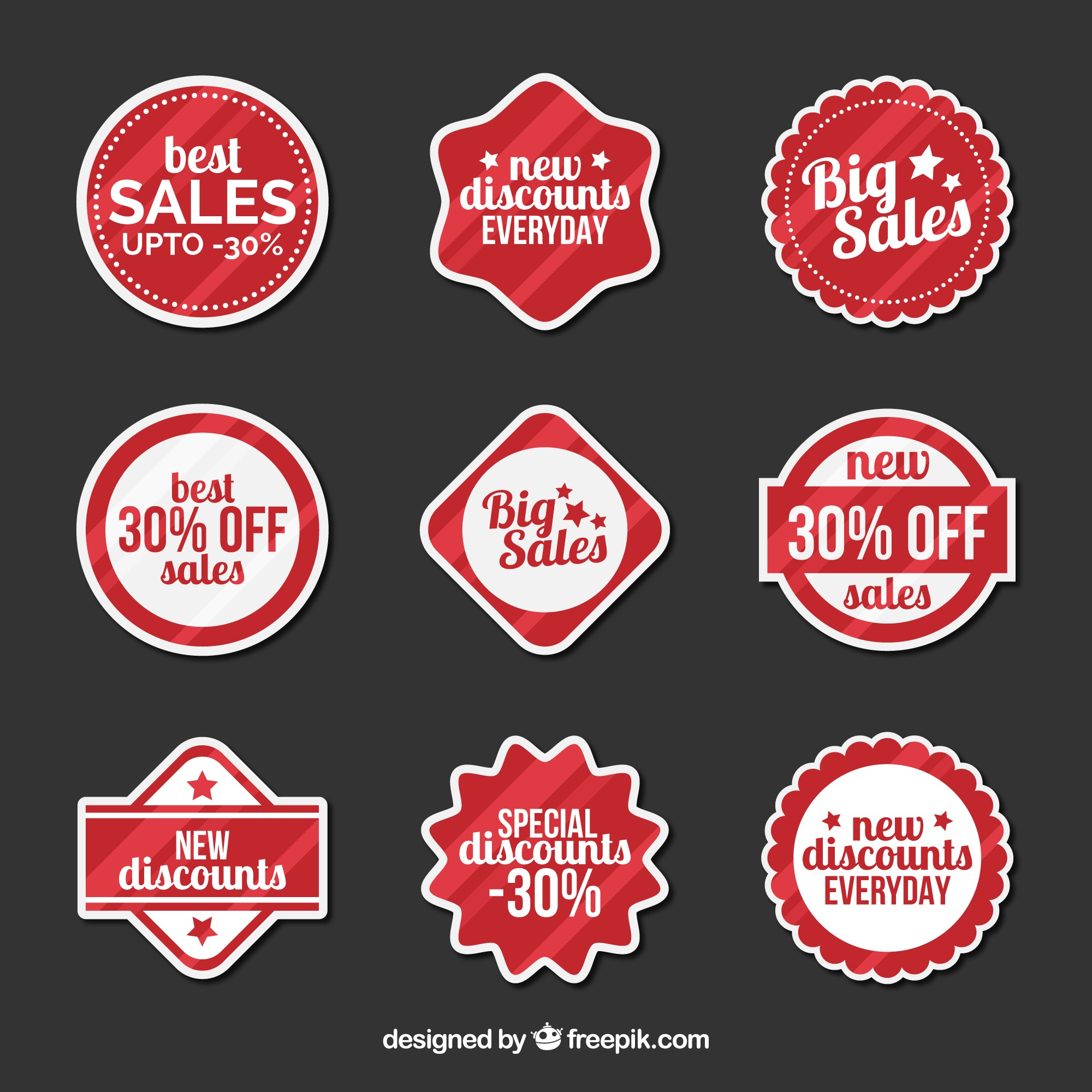 Set of modern discount stickers