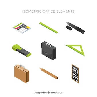 Set of modern elements with isometric view