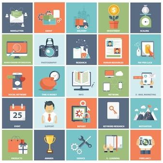 Набор современных иконок для бизнеса