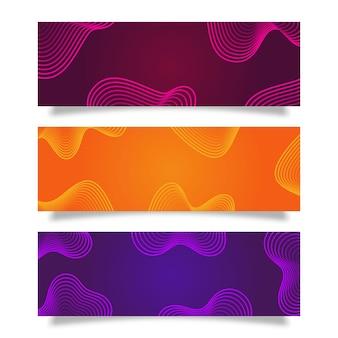 現代の流体グラデーション色のセット抽象的な背景、抽象的なカラフルなバナーデザインテンプレート
