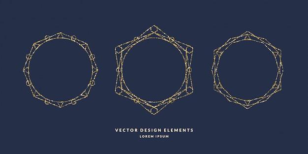 어두운 배경에 금색 반짝이의 텍스트에 대 한 현대 기하학적 원형 프레임의 집합입니다. 삽화
