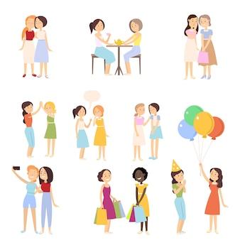 Набор современных подруг в разных повседневных нормальных ситуациях, день рождения, прогулки