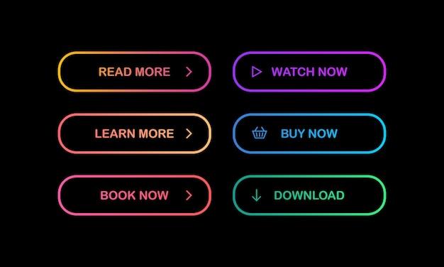 Набор современных светящихся разноцветных кнопок градиента на темном фоне. читайте, учитесь, бронируйте, смотрите, покупайте, скачивайте кнопки. вектор eps 10