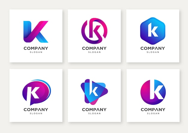 Набор современных букв k логотипа дизайн шаблона