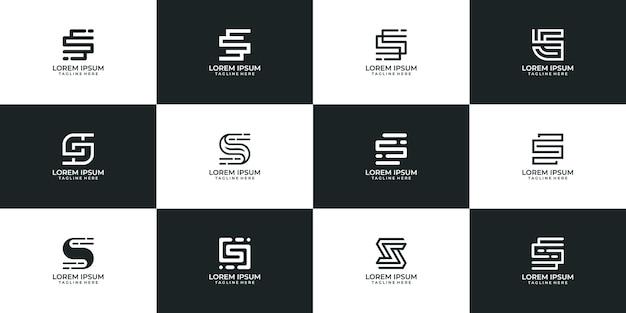 현대 편지의 로고 아이콘 컬렉션 세트