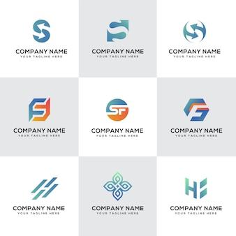 Набор современных букв ssfh концепции дизайна логотипа полный цвет