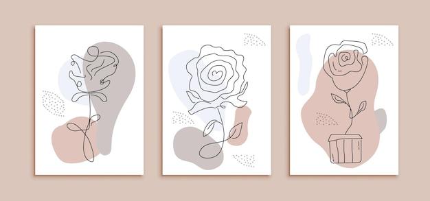 モダンなラインアートバラの花ポスターテンプレートのセットです。ミニマリストのデザインコンセプトのパステルカラーの抽象的な装飾壁
