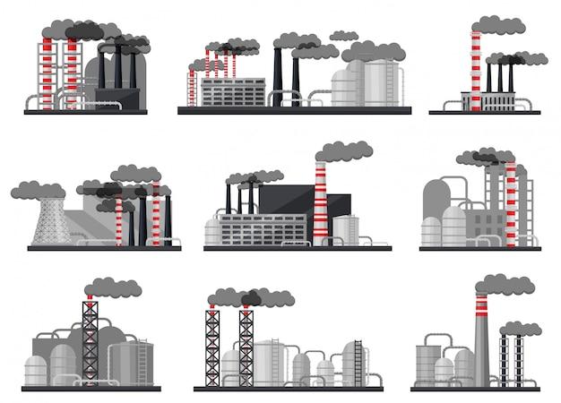 近代的な製造工場のセット。工業用建物、大きな金属製の貯水槽、喫煙パイプ