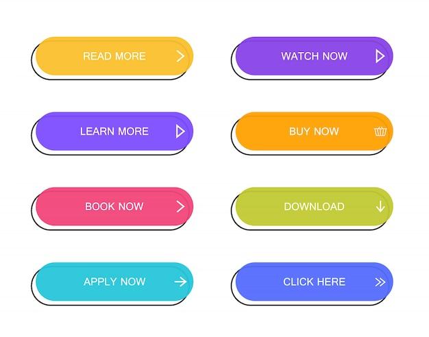 ウェブサイト、モバイルアプリ、インフォグラフィックのモダンな素材スタイルボタンのセット。さまざまなカラフルな色。モダンなフラットスタイル