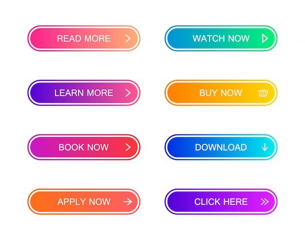 ウェブサイト、モバイルアプリ、インフォグラフィックのモダンな素材スタイルボタンのセット。さまざまなグラデーション色。モダンなフラットスタイル