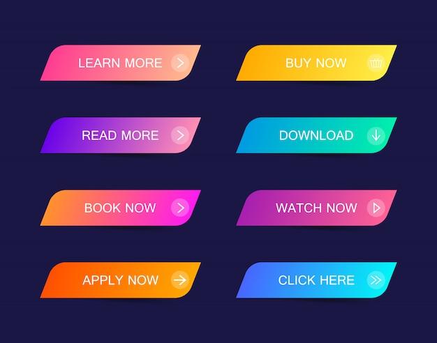 ウェブサイト、モバイルアプリ、インフォグラフィックのモダンな素材スタイルボタンのセット。さまざまなグラデーション色。