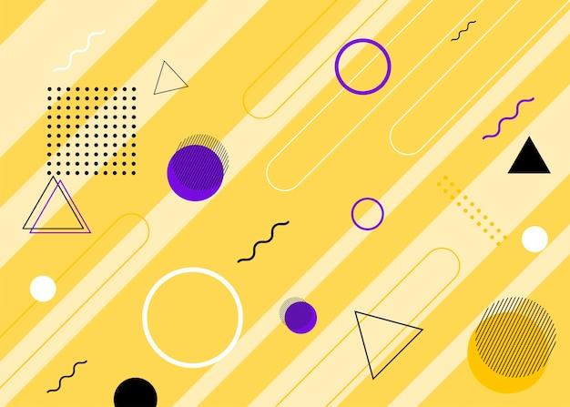 Набор современных обложек в стиле мемфис. красочный геометрический фон можно использовать в дизайне брошюры, флаера, веб-баннера, рекламного плаката, журнала, плоской обложки для интернета. векторная illustartion.