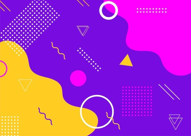 현대적인 멤피스 스타일 커버 세트입니다. 다채로운 기하학적 배경은 브로셔 디자인, 전단지, 웹 배너, 광고 포스터, 잡지, 웹용 플랫 커버를 사용할 수 있습니다. 벡터 illustartion입니다.
