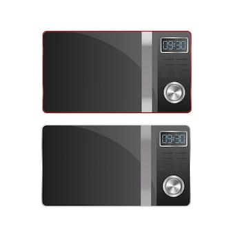 Набор современных микроволновых печей. стильная микроволновая печь, изолированные на белом фоне. реалистичный вектор.