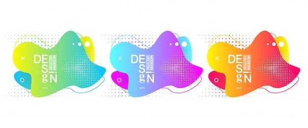 Набор современных минимальных брызг жидкости градиента с динамическими цветами. современный графический фон