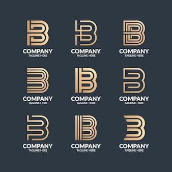 현대 모노그램 문자 b 로고 디자인 템플릿 세트