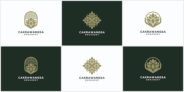 線形自然スタイルの花と自然化粧品の概念のモダンな自然と有機製品の装飾ロゴテンプレート、ロゴ、エンブレムデザインのセット