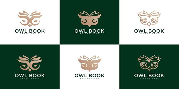 Коллекция современных логотипов совы книги премиум вектор