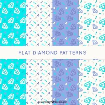 Set of modern patterns with decorative diamonds