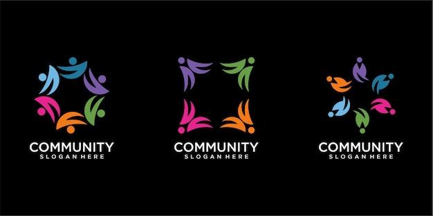 Набор современных людей и дизайн логотипа сообщества