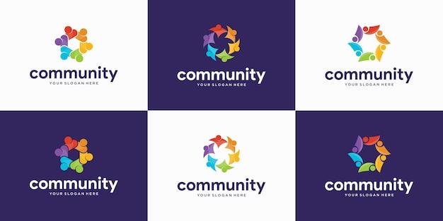 Набор современных людей и логотип сообщества