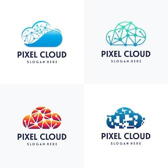현대 픽셀 클라우드 로고 디자인 개념 벡터, 클라우드 테크 로고 템플릿, 기술 로고 기호 아이콘 템플릿 세트