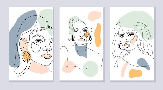 抽象的な形と女性の1行のイラストとモダンなポスターのセット