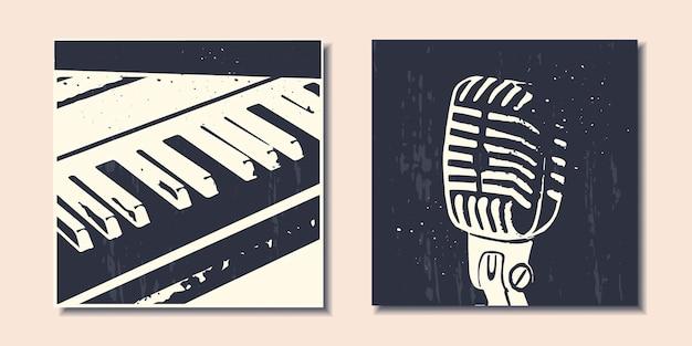 Набор современных плакатов с абстрактными музыкальными инструментами фортепианный микрофон