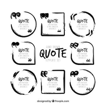 Набор шаблонов современной цитаты в черно-белом