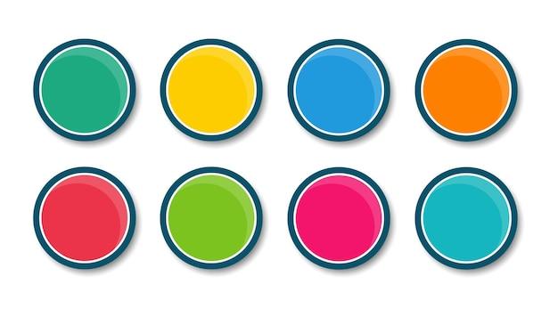 Набор современных круглых кнопок. пустой шаблон веб-кнопок. для веб-сайта и пользовательского интерфейса.