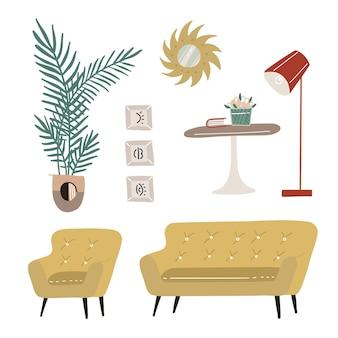 Набор современных элементов дизайна интерьера scandi, кресло, стол, диван, ковер, зеркало, лампа, растения и картины, модный дизайн дома hygge, квартира