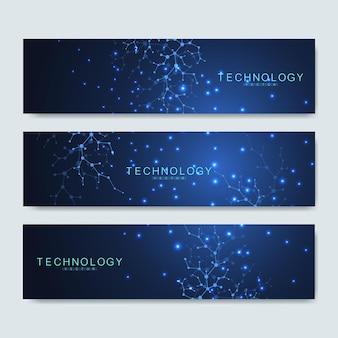 現代の科学的なバナーのセット。医療、技術、化学、科学のための現代の未来的な仮想抽象的な背景分子構造。科学ネットワークパターン、線と点を結ぶ。