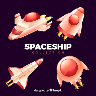 Set of modern spaceships