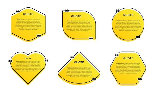 노란색 배경으로 현대 유행 견적 세트