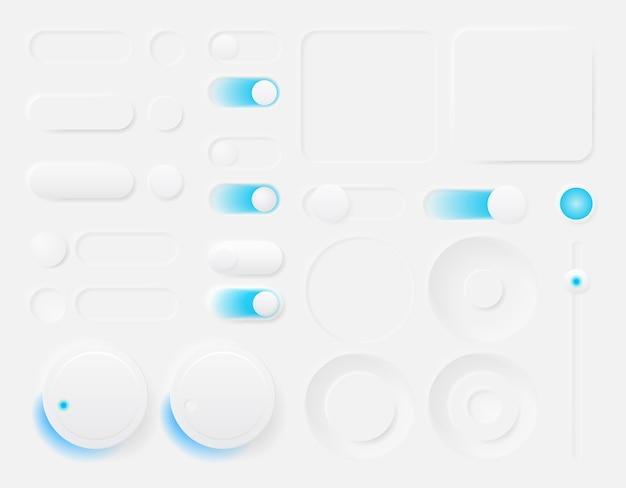 アプリやウェブサイトのデザインのためのモダンなトレンディなスムージーボタンのセット。