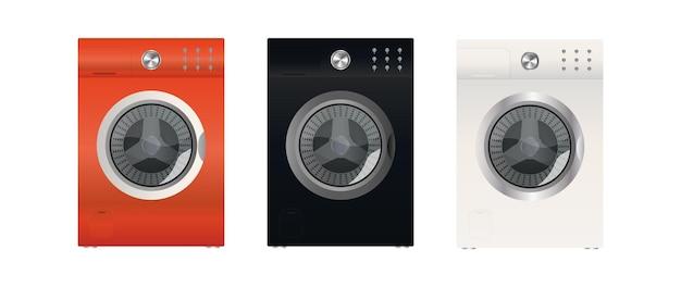 흰색 배경에 분리된 현대적인 세탁기 세트입니다. 세련된 세탁기. 현실적인 스타일. 벡터.