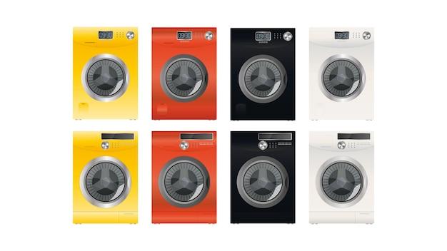 白い背景で隔離のモダンな洗濯機のセット。スタイリッシュな洗濯機。リアルなスタイル。ベクター。
