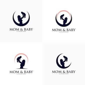 ママと赤ちゃんのロゴデザインベクトルのセット