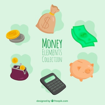 Набор денежных элементов и калькулятор