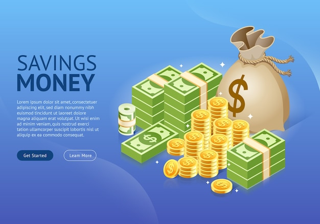 Набор денег значок баннера